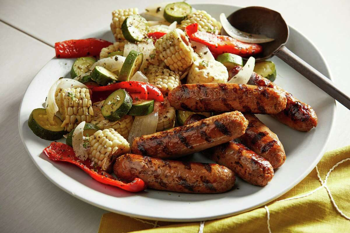 Mixed Grill With Sausages, Vegetables and Corn. MUST CREDIT: Photo by Tom McCorkle for The Washington Post.
