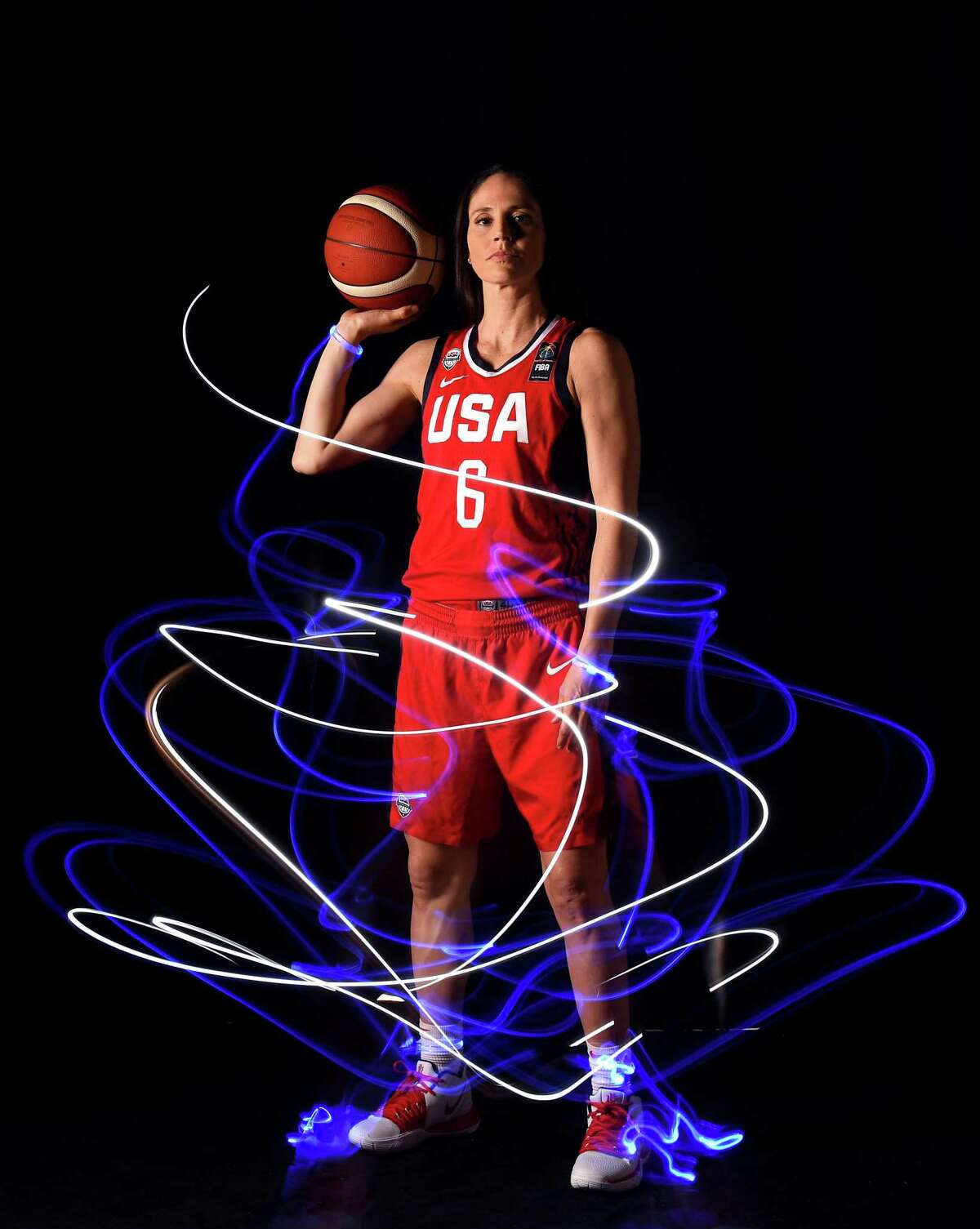 WEST HOLLYWOOD, CALIFORNIA - NOVEMBER 21: Basketball player Sue Bird poses for a portrait during the Team USA Tokyo 2020 Olympics shoot on November 21, 2019 in West Hollywood, California. (Photo by Harry How/Getty Images)