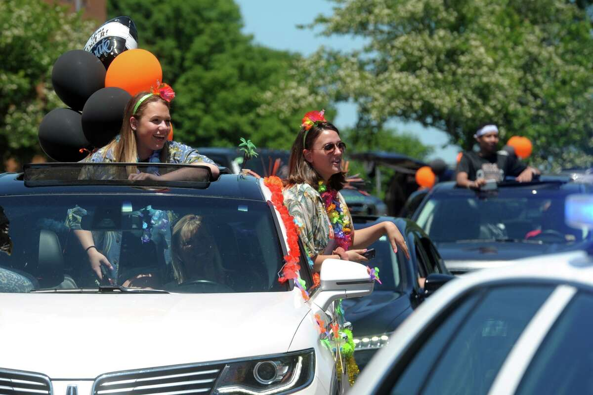 Shelton High School held a drive through parade for graduates of the Class of 2020 in Shelton, Conn. June 17, 2020.