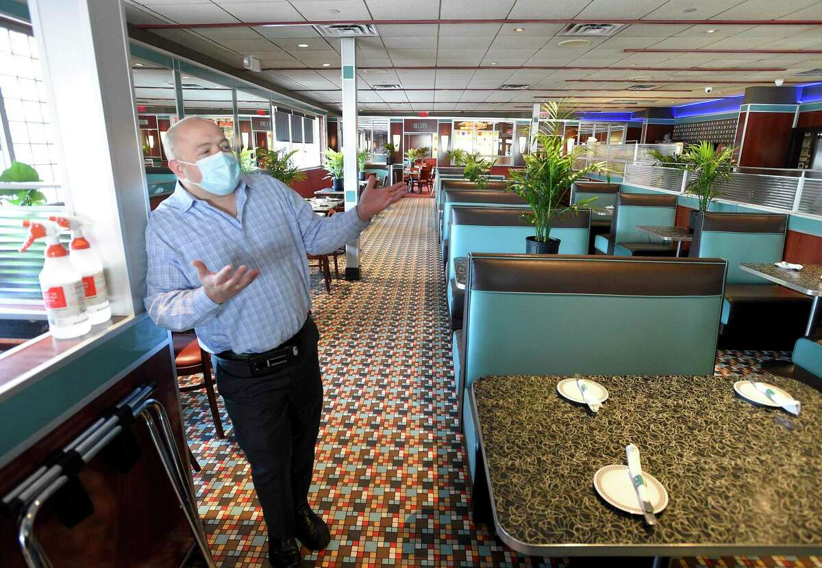 Ari Thanos of The Stamford Diner talks about how he reconfigured his restaurant to meet the states guidelines for inside dining, during an interview in Stamford, Connecticut on June 17, 2020. The Stamford Diner, Stamford Best lunch - Experts' pick