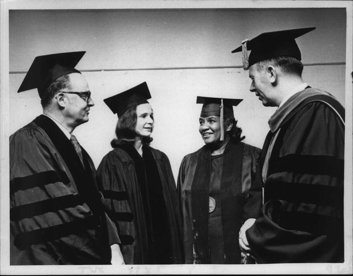 Russell Sage College, New York - Stephen H. Sampson, Marina Whitman, and Dr. Dorothy Brown, law degrees graduates, with Dr. Charles Walker, President. May 22, 1972 (Jack Pinto/Times Union Archive)