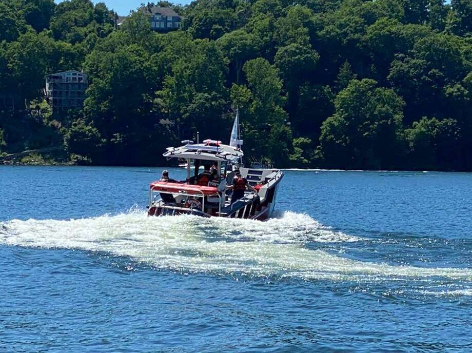 At 2:13 p.m. Tuesday, June 16, 2020, the Brookfield, Conn., fire companies dispatched units for a report of a swimmer in distress between the Candlewood Shores and Pine Island. Photo: Contributed Photo / Brookfield Volunteer Fire Department, Candlewood Company