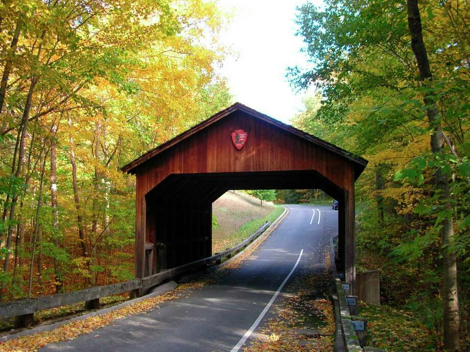 The Pierce Stocking Scenic Drive is still closed due to renovations, such as the re-roofing of the iconic covered bridge. (Courtesy Photo)