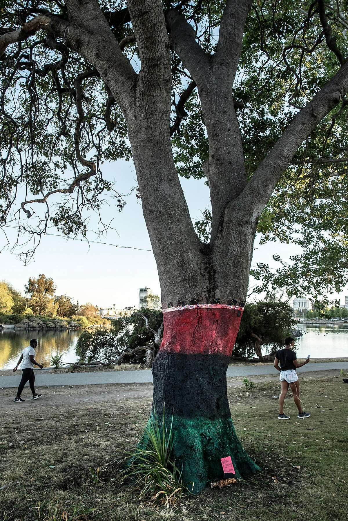 A tree that was painted with the colors of the Pan-African Flag stands in a grassy area frequented by families after what were believed to be nooses were found hanging from several trees in the area along the shore of Lake Merritt in Oakland, Calif., on Wednesday, June 17, 2020. After the discovery of the nooses, local residents decided to paint the tree with the colors of the flag to reclaim the tree and offer a place for anyone to leave prayers or messages rather than let the memory of hate remain.