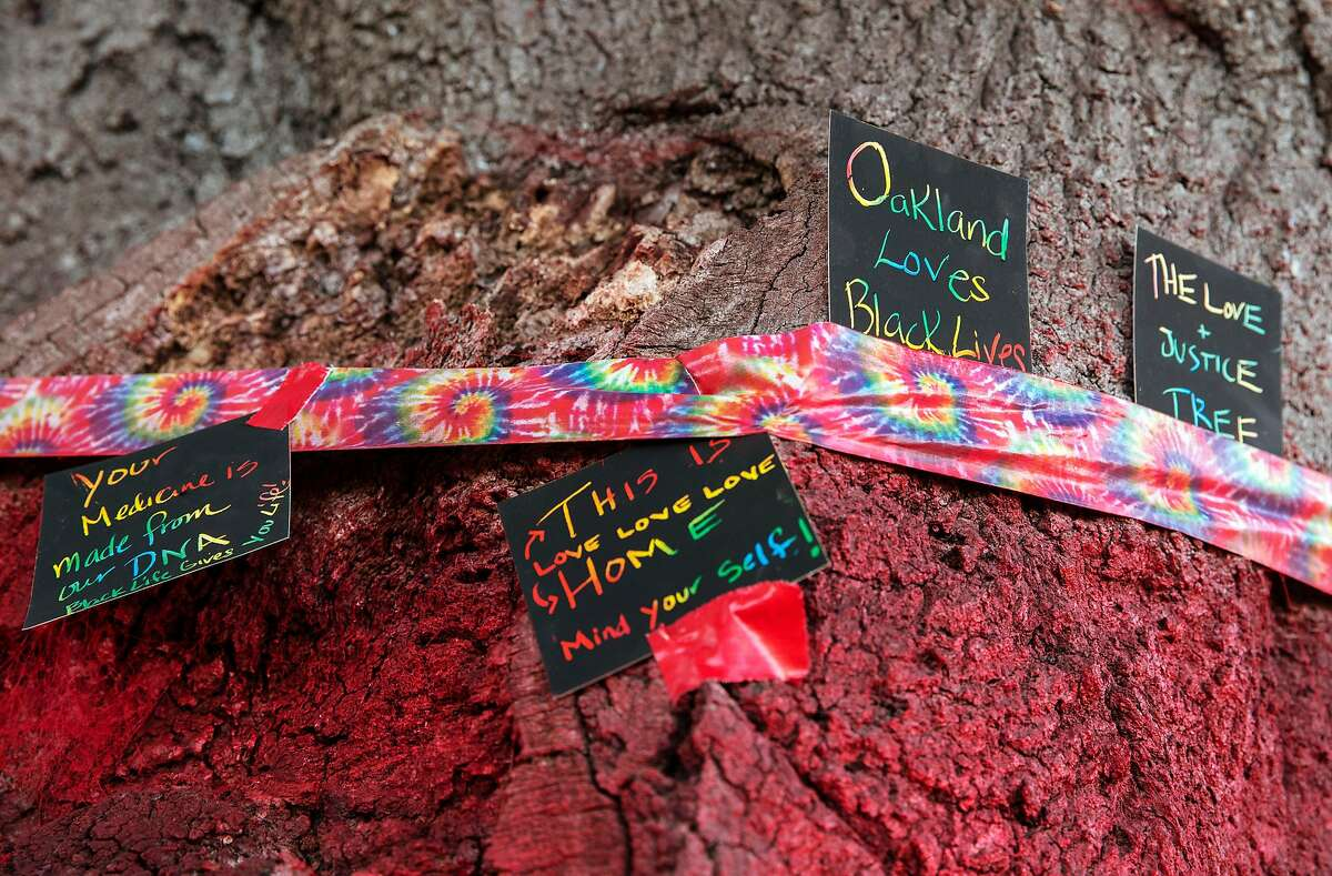 Several notes sit on a band of tape on a tree that was painted with the colors of the Pan-African Flag after what were believed to be nooses were found hanging from several trees in the area along the shore of Lake Merritt in Oakland, Calif., on Wednesday, June 17, 2020. After the discovery of the nooses, local residents decided to paint the tree with the colors of the flag to reclaim the tree and offer a place for anyone to leave prayers or messages rather than let the memory of hate remain.