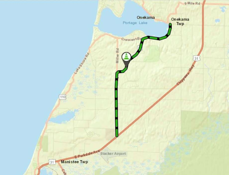 Nearly 6.8 miles of M-22 from US-31 to 8 Mile Road in Manistee County will be resurfaced. Work will begin on June 22. (Screenshot/MDOT/MiDrive map)