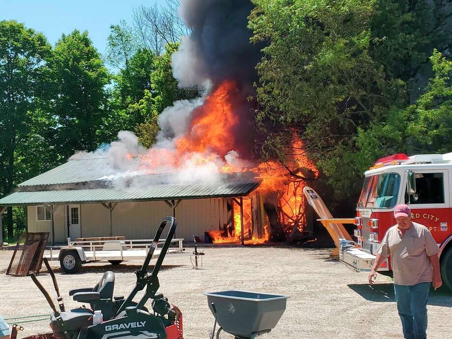 Firefighters from Reed City, Hersey Township, Lincoln Township and Yates Township responded to a fire at the Chase Creek Smokehouse on Monday. A garage next to the restaurant was a total loss, but no damage was done to the restaurant. (Submitted photo)
