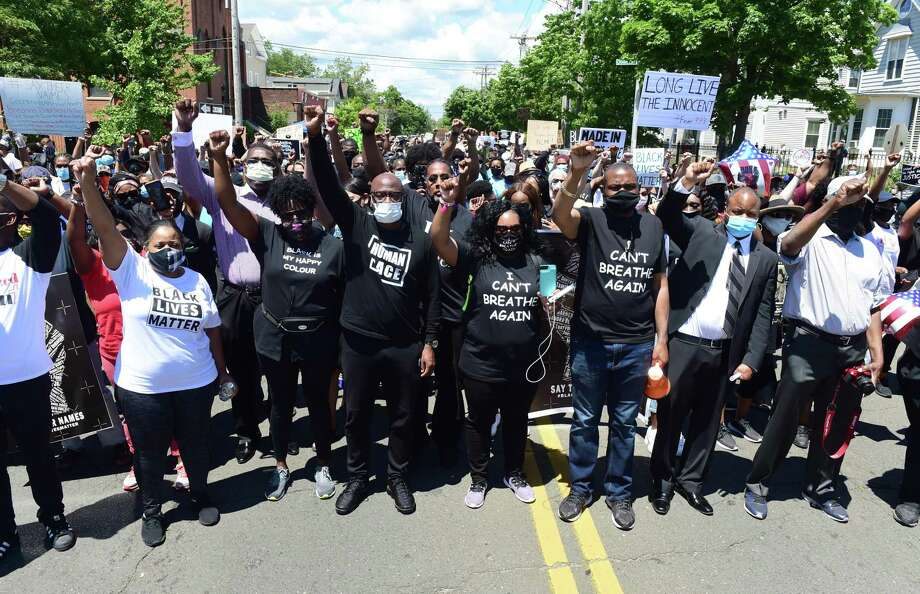 The Prayer, Protest & Peace March leaves from Varick Memorial AME Zion Church heading to the New Haven Green on June 14, 2020. Photo: Arnold Gold / Hearst Connecticut Media / New Haven Register