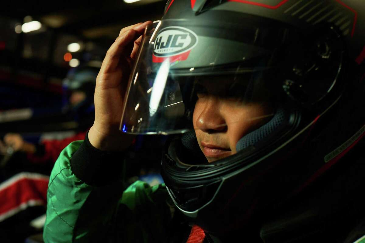 A helmeted rider at Monza Karting at Foxwoods.