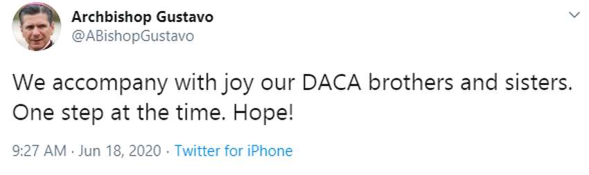 Archbishop Gustavo Garcia-Siller:We accompany with joy our DACA brothers and sisters. One step at the time. Hope!