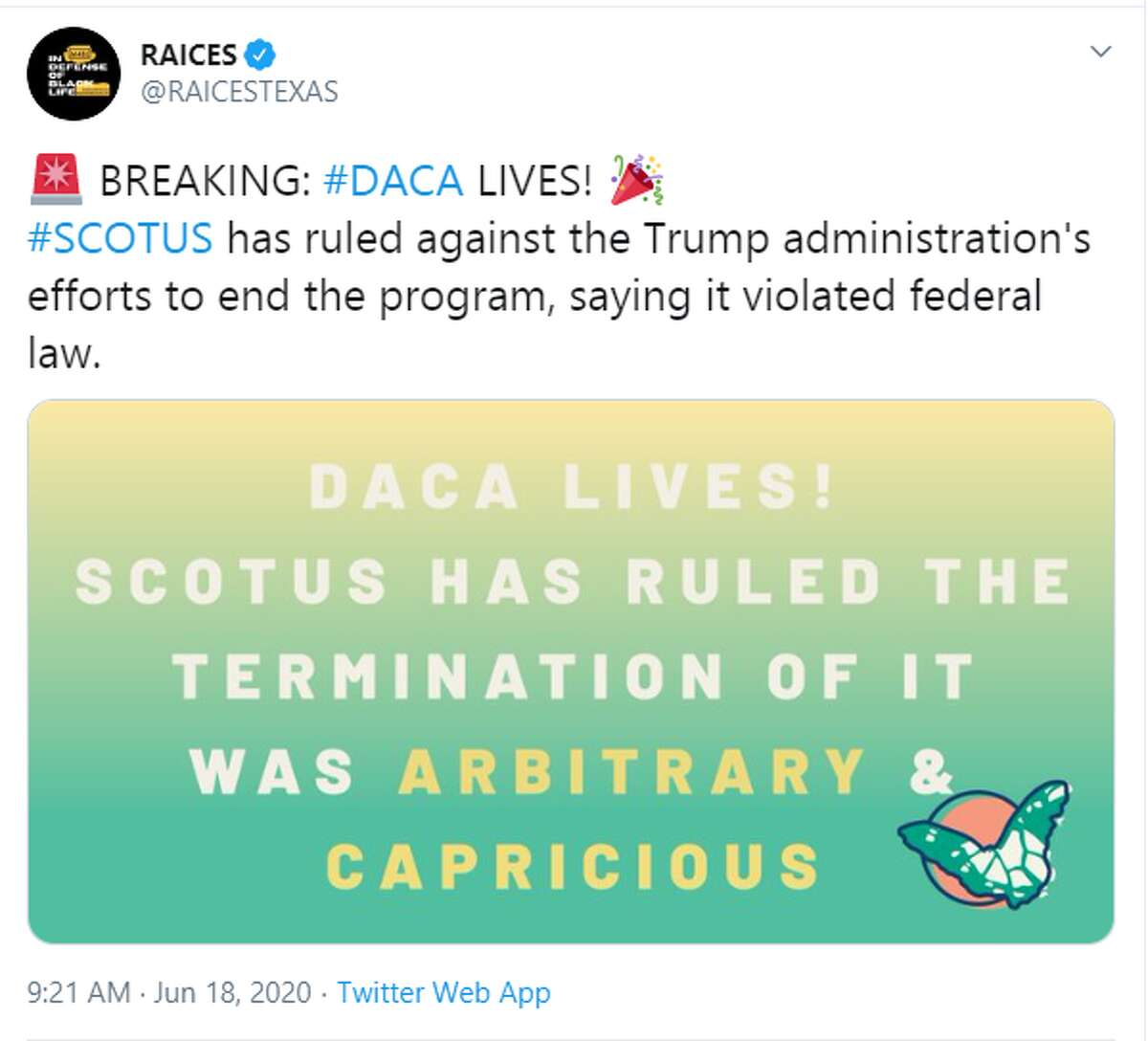 RAICES: BREAKING: #DACA LIVES! #SCOTUS has ruled against the Trump administration's efforts to end the program, saying it violated federal law.