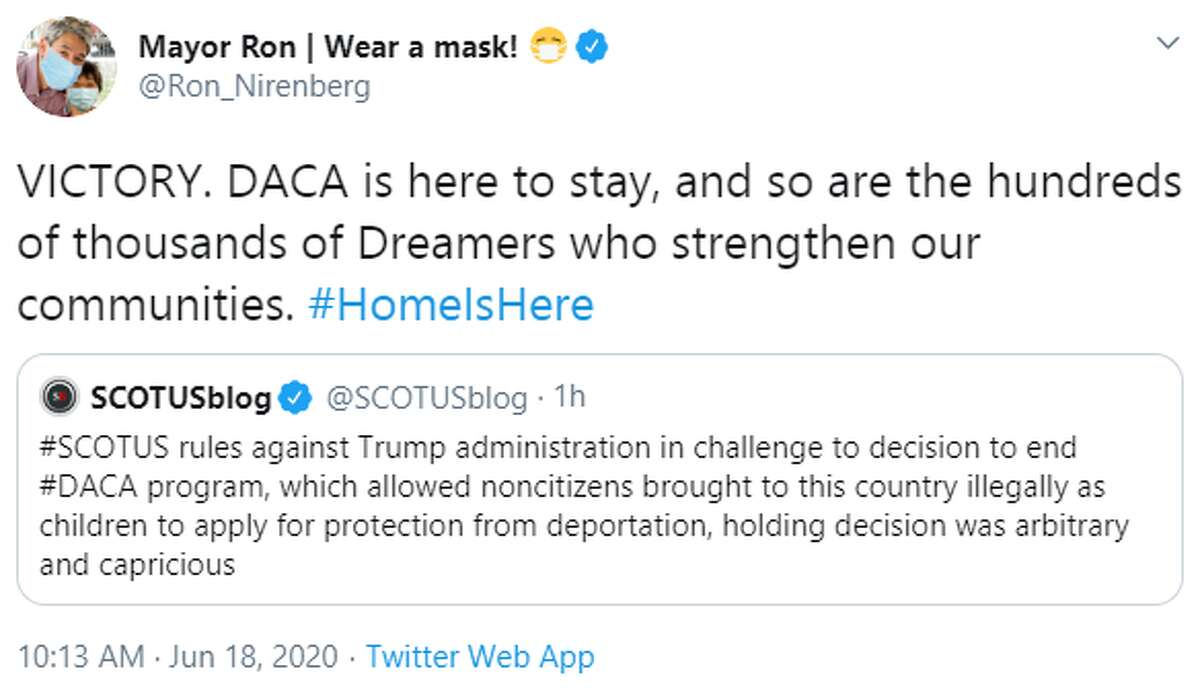 San Antonio Mayor Ron Nirenberg: VICTORY. DACA is here to stay, and so are the hundreds of thousands of Dreamers who strengthen our communities. #HomeIsHere