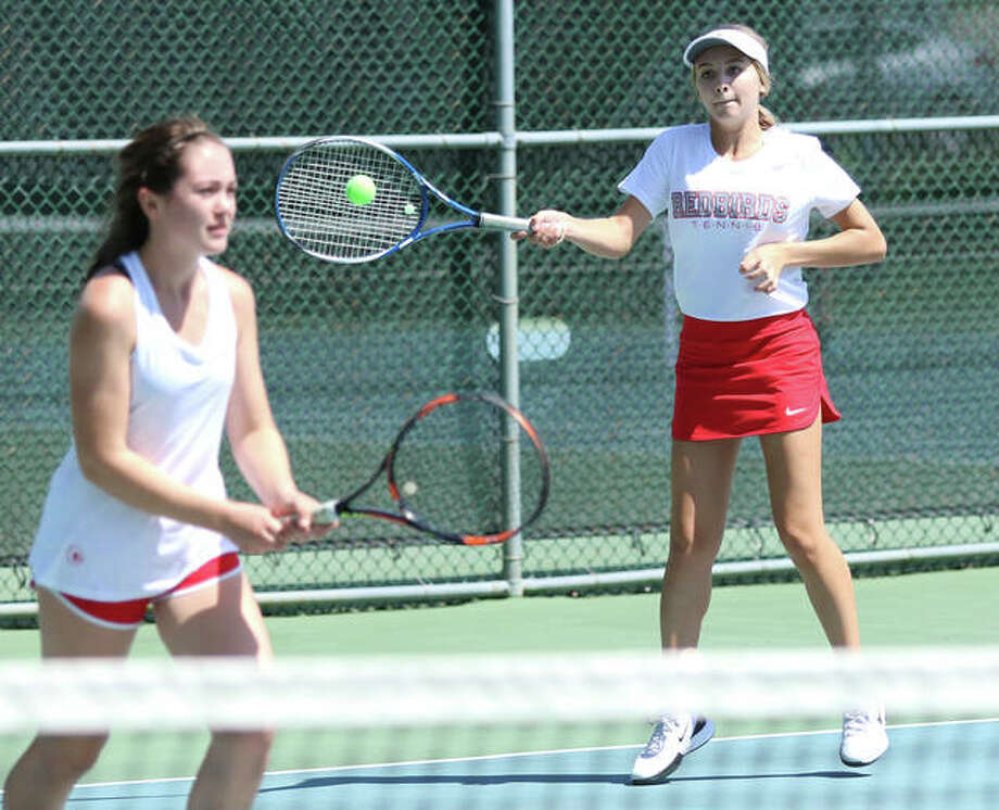 Alton's Maddie Saenz (right) and Ainsley Fortschneider defeated Alton Redbirds teammates Hannah Macias and Molly Gross for the Girls 18 championship at last summer's Alton Closed Doubles Tournament. This year's tourney is set for July 7-9 at Alton High School and at the Simpson Tennis Complex in Gordon Moore Park. Photo: Telegraph File Photo