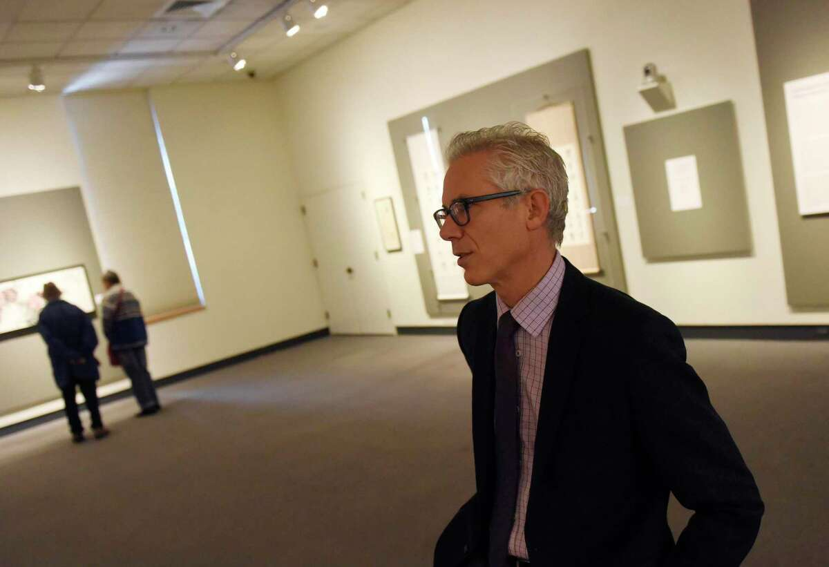 Bruce Museum Executive Director and CEO Robert Wolterstorff chats inside the Louis and Virginia Bantle Lecture Gallery at the Bruce Museum in Greenwich, Conn. Tuesday, Nov. 26, 2019. The New Bruce $60 million renovation will add state-of-the-art exhibition, education and community spaces, and dramatically enhance the art and science collections as well as a new cafe. The campaign includes $45 million for design and construction and, to ensure sustainability, $15 million for the museum's endowment.