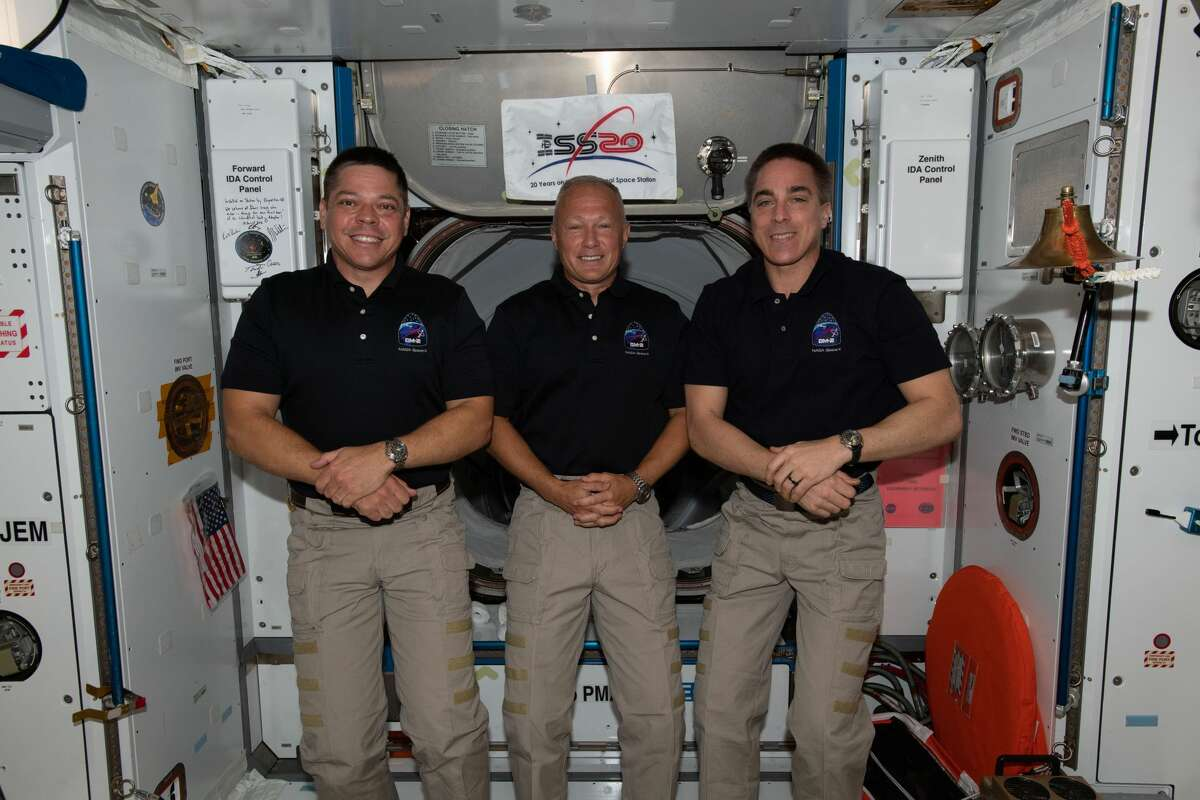 NASA astronauts (from left) Bob Behnken, Doug Hurley and Chris Cassidy are the U.S. members of the Expedition 63 crew. Behnken and Hurley are the International Space Station's newest crewmates after arriving May 31 aboard the SpaceX Crew Dragon. Cassidy is the station Commander and has been on the orbiting lab since April 9 when he arrived with (out of frame) Flight Engineers Anatoly Ivanishin and Ivan Vagner aboard the Soyuz MS-16 crew ship.