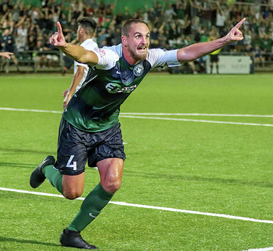 STLFC's Sam Fink celebrates his game-winning goal late in a U.S. Open Cup game last season against FC Cincinnati at World Wide Technology Soccer Park in Fenton. Fink, 27, is a graduate of Edwardsville High School and Wake Forest University. Photo: Telegraph File Photo