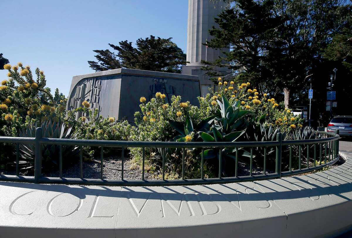 A pedestal is all that remains in the parking lot for Coit Tower in San Francisco, Calif. on Thursday, June 18, 2020 after a crew from the city dismantled a statue of Christopher Columbus during the night.