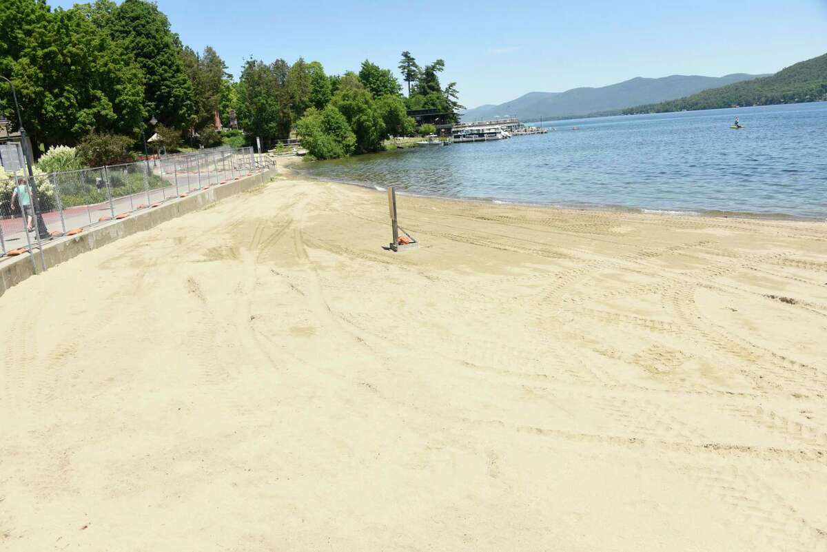The Shepard Park Beach is closed on Lake George on Wednesday, June 17, 2020 in Lake Geroge, N.Y. The Million Dollar Beach will be open from 10 a.m. to 6 p.m. starting this weekend. (Lori Van Buren/Times Union)