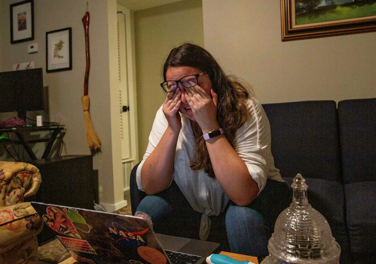 Andrea Fernandez gets emotional after looking up the Supreme Court ruling and discovering the favorable outcome on DACA from her apartment on June 18, 2020 in Austin, Texas.