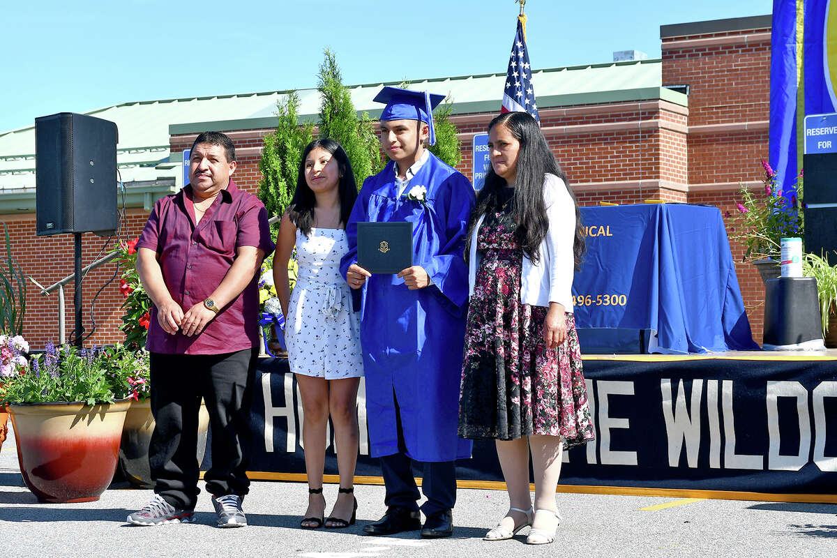 In Pictures: The Oliver Wolcott Technical High School, Class of 2020, held their first set of two days of graduations for each shop. The Automotive Class commenced at 9 am, Thursday, June 18,2020.