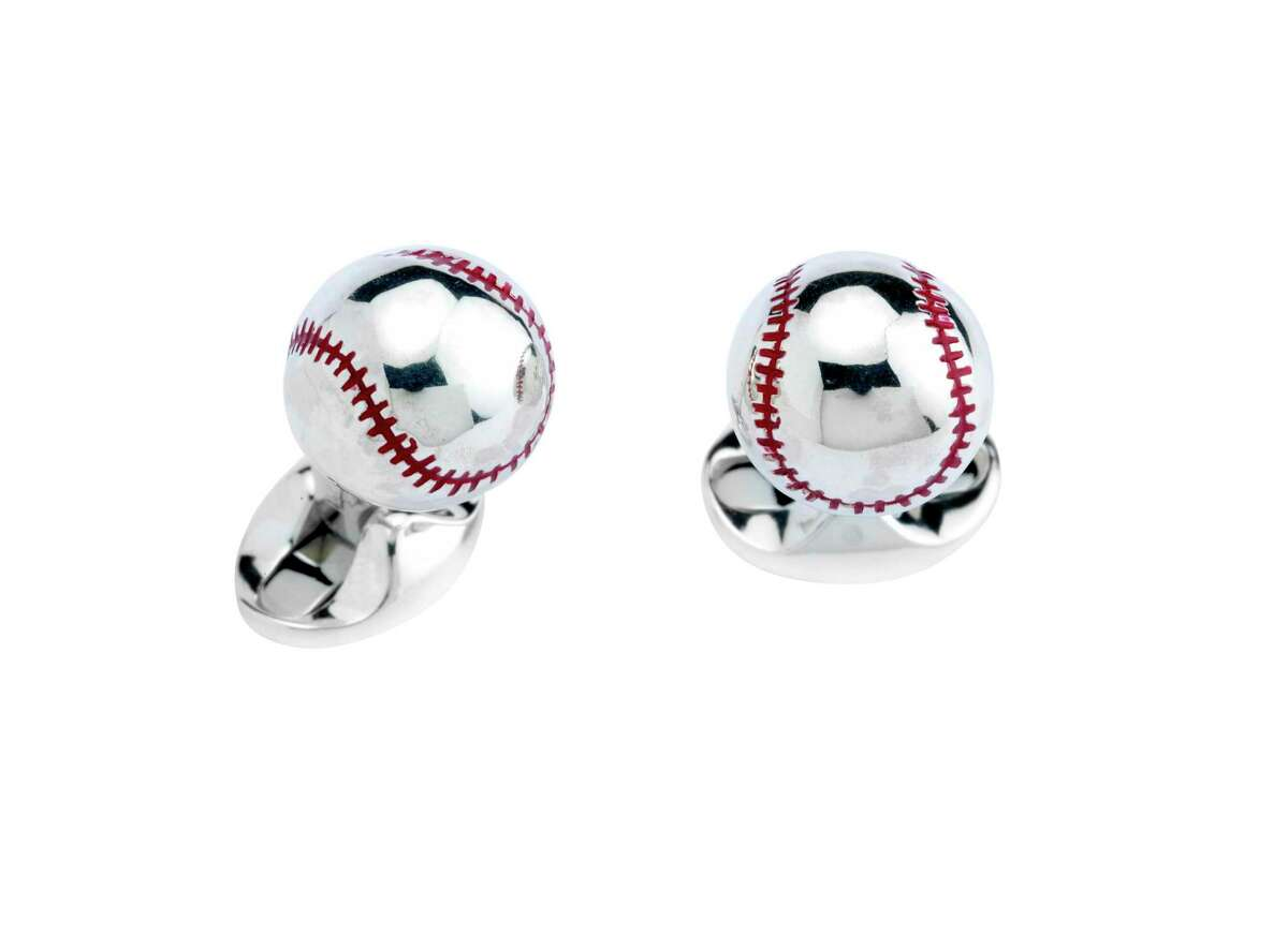 Batter up for dress-up occasions. These hand-enameled Sterling Silver Baseball Cufflinks will have your baseball enthusiast dandy sentimental for the great American game; $395 at Deutsch Fine Jewelry, 3747 Westheimer, deutschhouston.com.