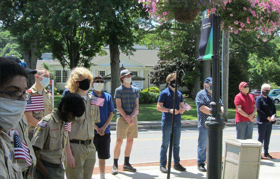 Boy Scouts attended a Flag Day ceremony in Wilton on June 14, 2020. Photo: Contributed Photo