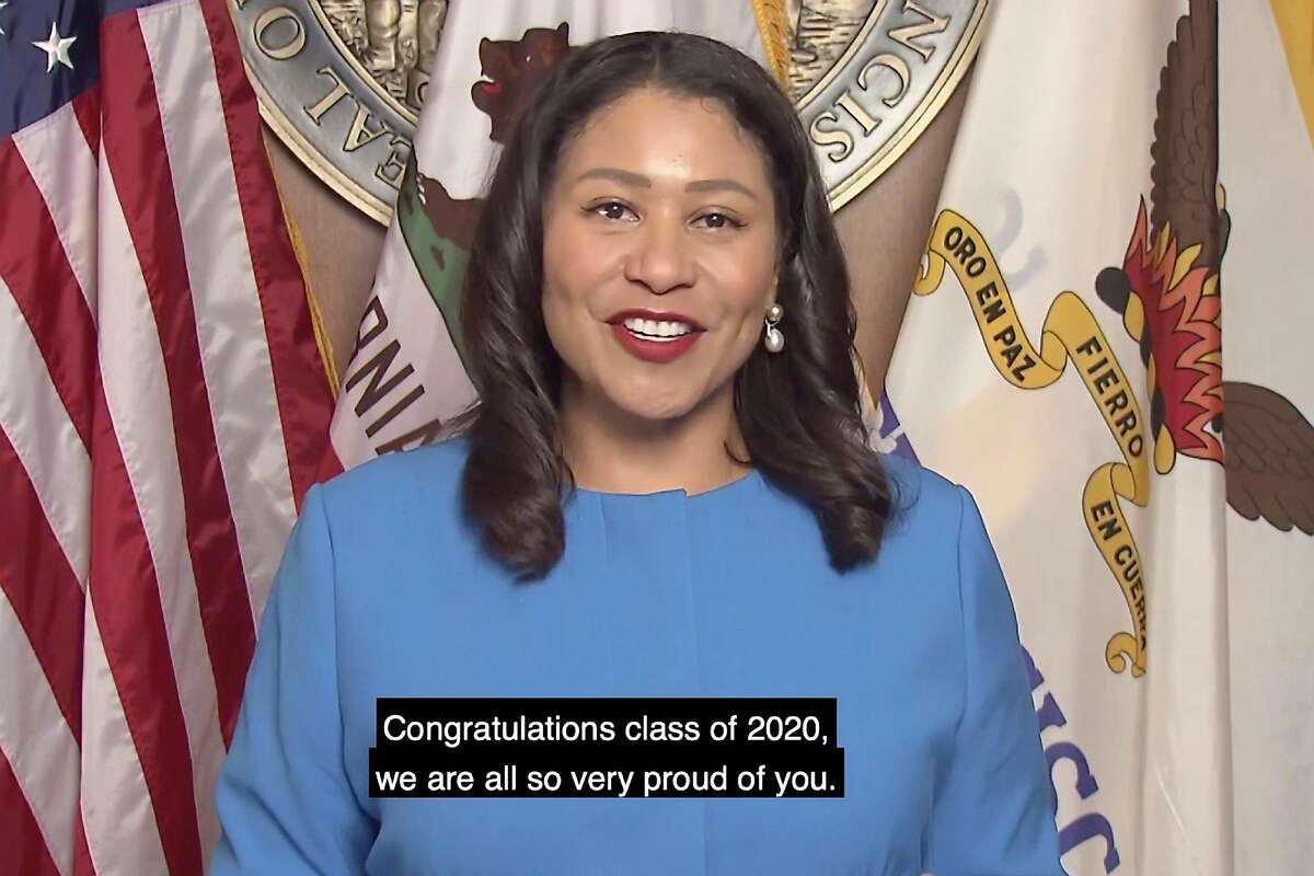 """San Francisco Mayor London Breed gave a video speech during San Francisco State University's virtual commencement ceremony Thursday, June, 18, 2020 imploring graduates to become leaders and """"help change the course of this country."""""""