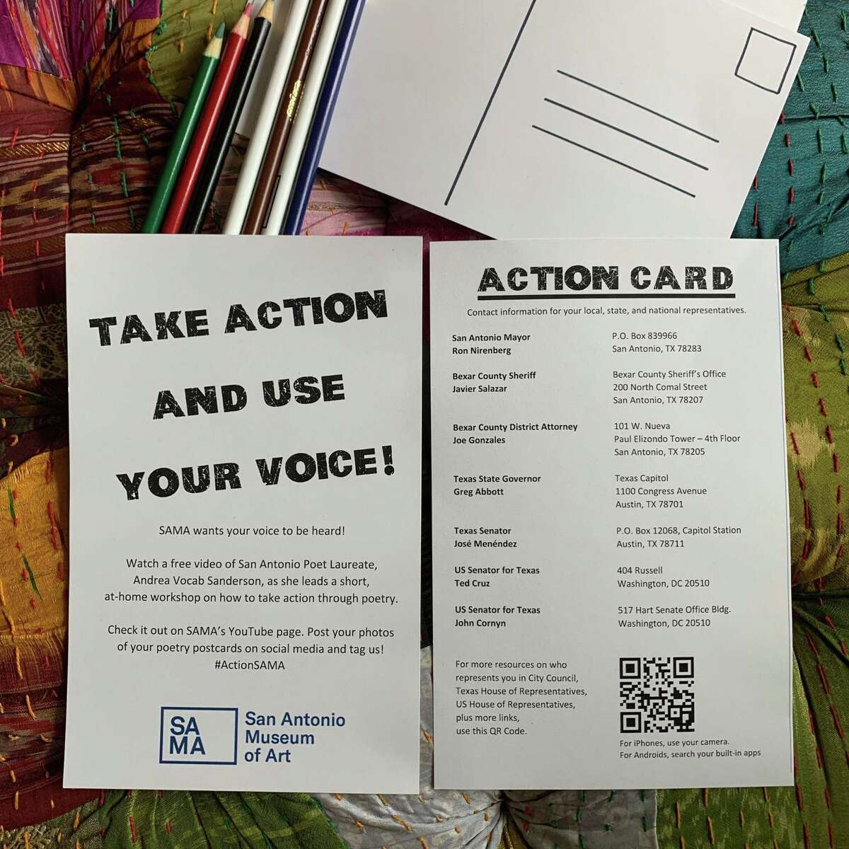 The action bags contain blank postcards, colored pencils and a list of addresses for government officials.