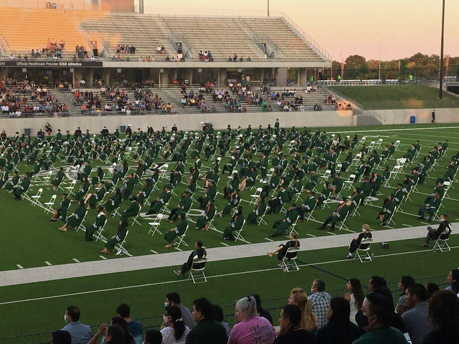 Katy Independent School District holds an evening outdoor graduation ceremony for Mayde Creek High School on Wednesday, June 17, at Legacy Stadium. Photo: Courtesy Of Katy ISD