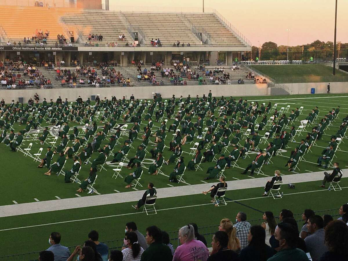 Katy Independent School District holds an evening outdoor graduation ceremony for Mayde Creek High School on Wednesday, June 17, 2020, at Legacy Stadium.