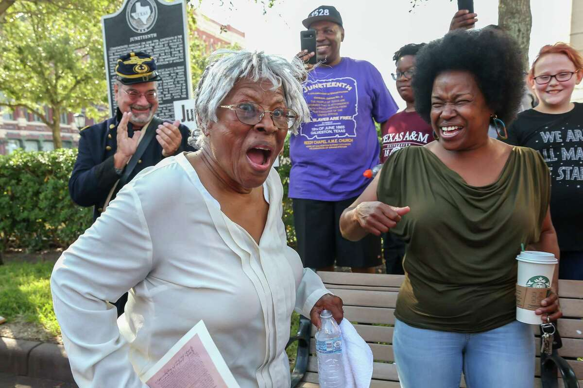 Ms. Opal Lee, 92, of Fort Worth leads a group of followers on her walking campaign for Juneteenth holiday awareness through the streets of Galveston Island, Texas on September 14, 2019.