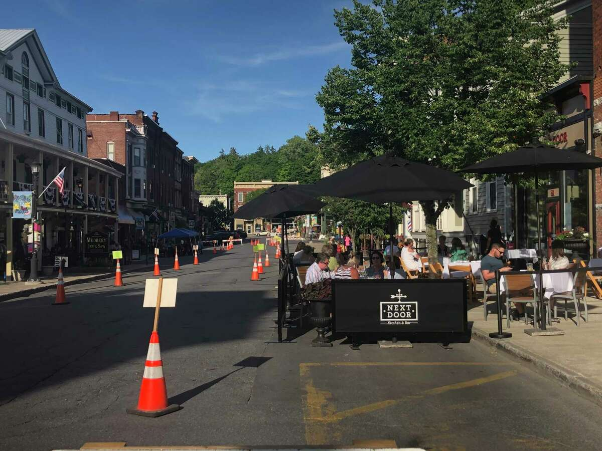 The closure of Front Street in Ballston Spa creates a unique dining experience as restaurants expand their outdoor seating areas to provide a socially distant experience on Thursday, June 18, 2020.