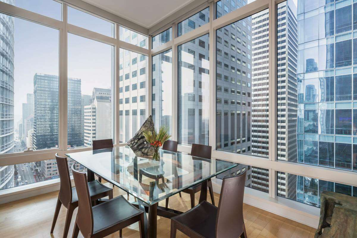 The two-bedroom, two-bathroom corner condo is on the 25th floor and spans 1,479 feet.