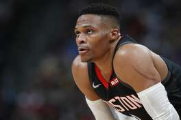Houston Rockets guard Russell Westbrook waits for a foul shot in the second half of an NBA basketball game against the Denver Nuggets, Sunday, Jan. 26, 2020, in Denver. (AP Photo/David Zalubowski)