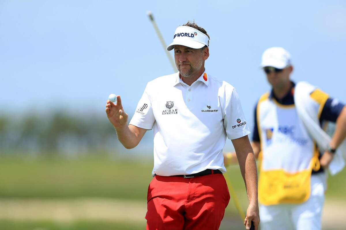 HILTON HEAD ISLAND, SOUTH CAROLINA - JUNE 18: Ian Poulter of England reacts to his birdie on the 18th green during the first round of the RBC Heritage on June 18, 2020 at Harbour Town Golf Links in Hilton Head Island, South Carolina. (Photo by Sam Greenwood/Getty Images)