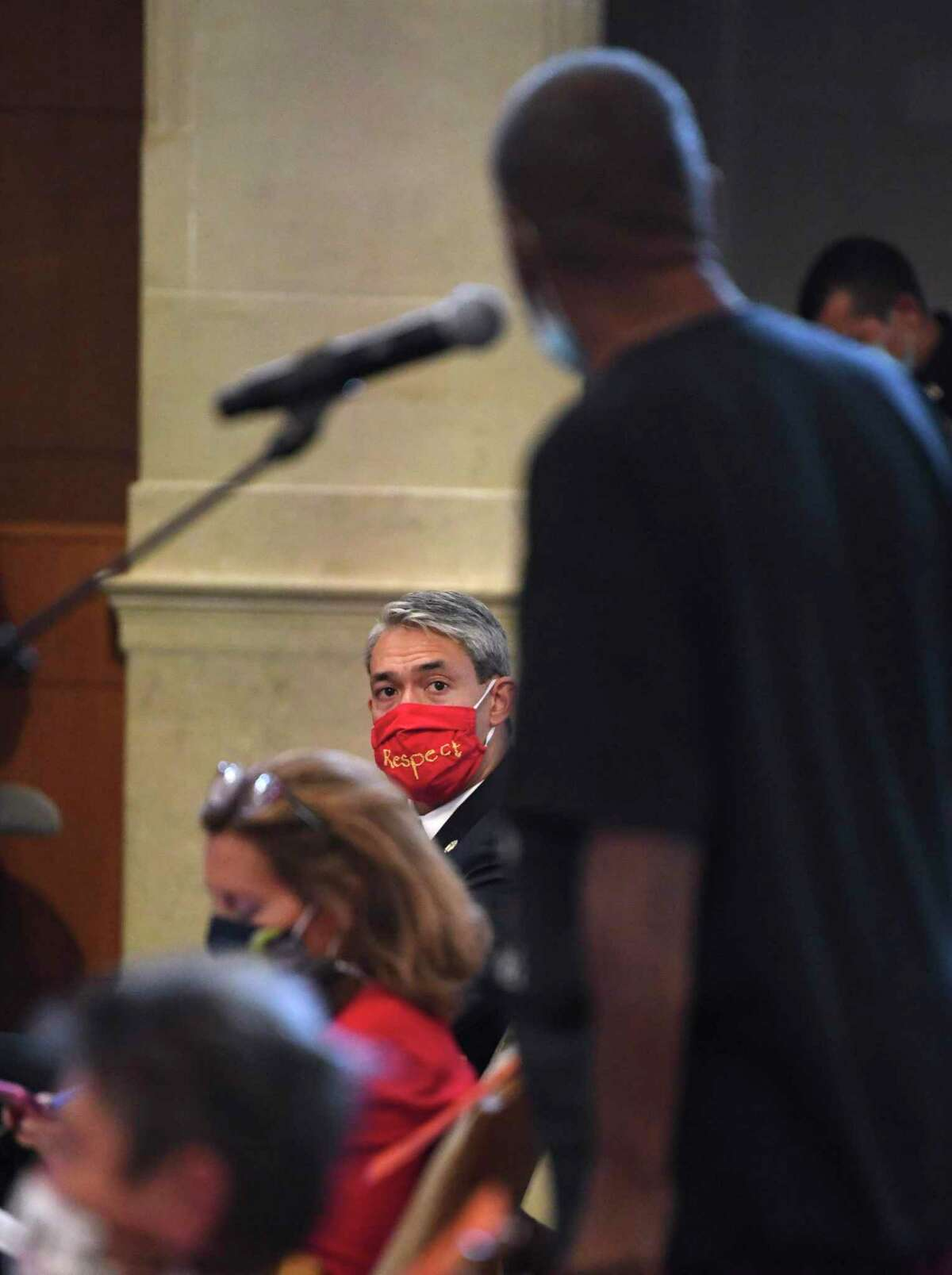 San Antonio Mayor Ron Nirenberg listens as James Myart speaks about his desire for more diversity on the San Antonio Police Department during a San Antonio City Council Public Safety Committee meeting on Thursday, June 18, 2020.