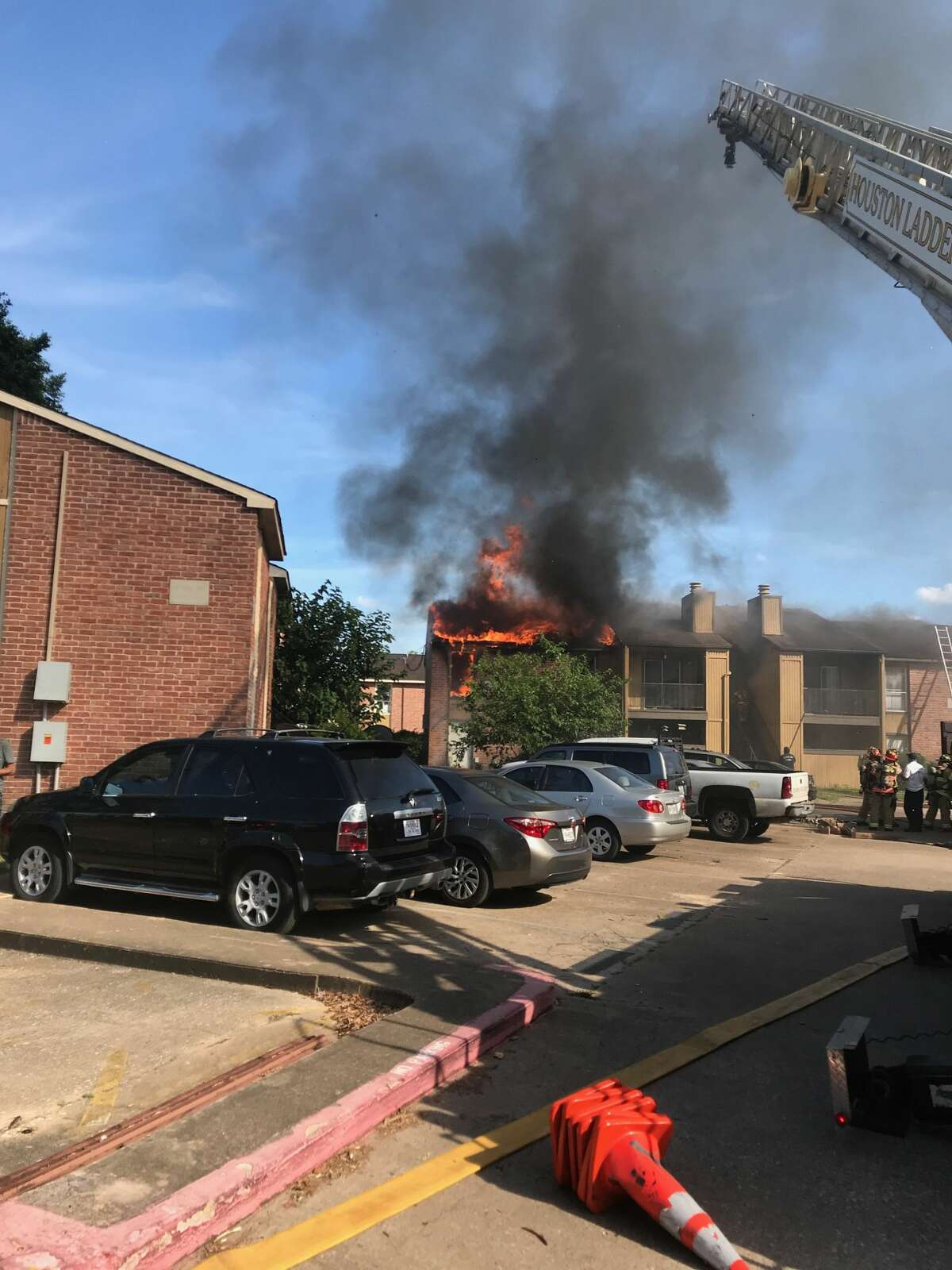 Ten families were displaced Thursday following an apartment fire in the 5800 block of North Houston Rosslyn Road, authorities said.