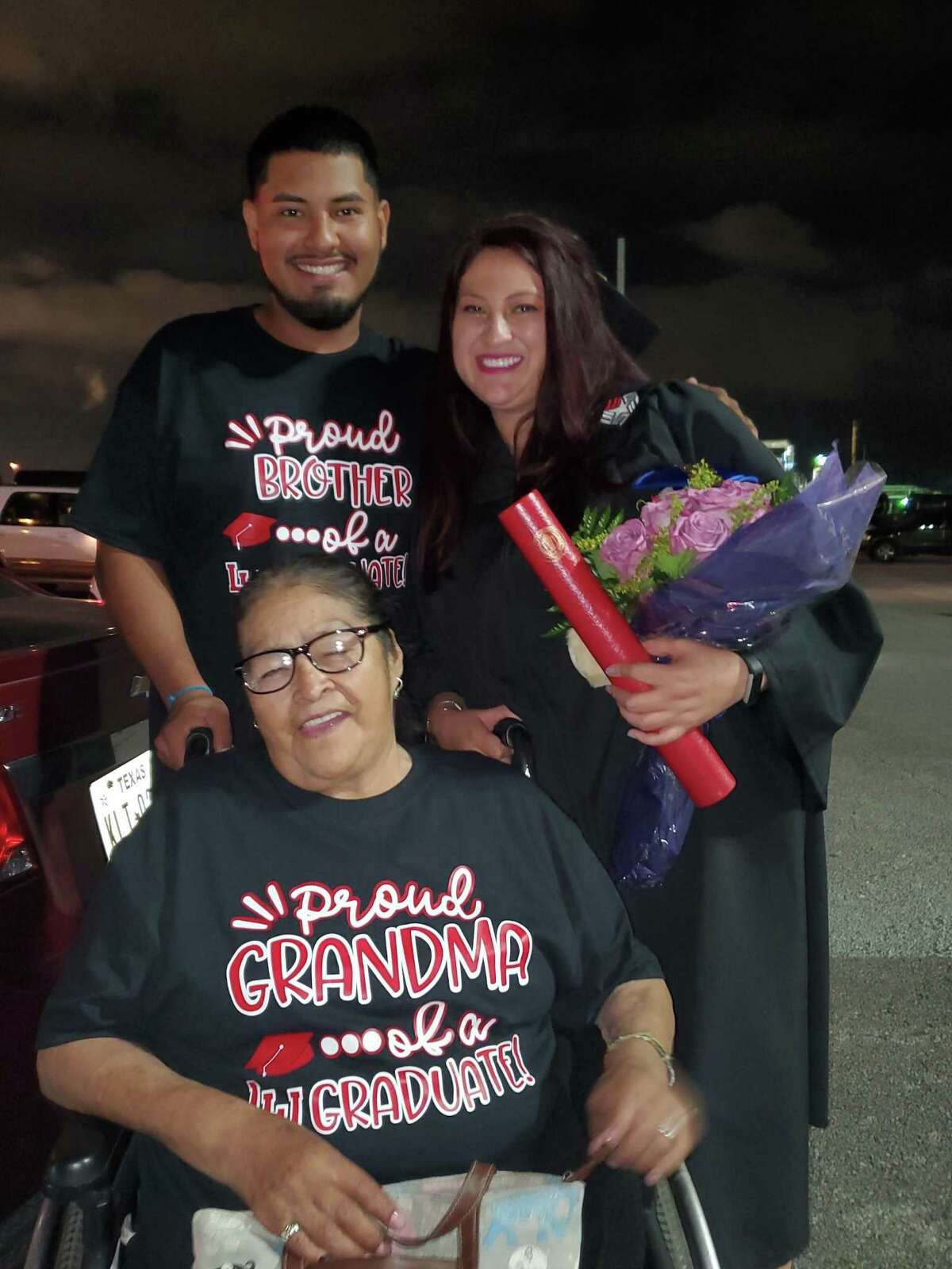 Guadalupe Gomez (right) with her family after graduating for Lamar University in Beaumont, Texas.