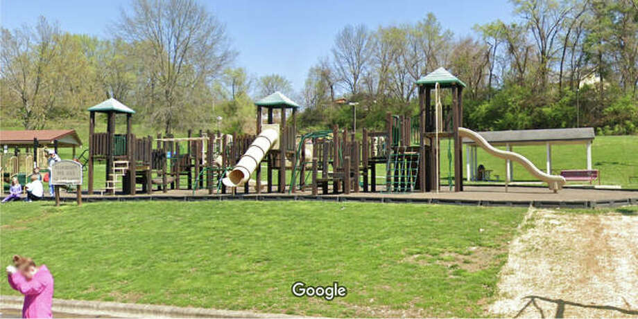 This Google Earth image shows the old wooden playground in Miner Park that village officials took down within the last 30 days, citing safety concerns. A new, safer playset should be installed soon. Photo: Courtesy Of Village Of Glen Carbon