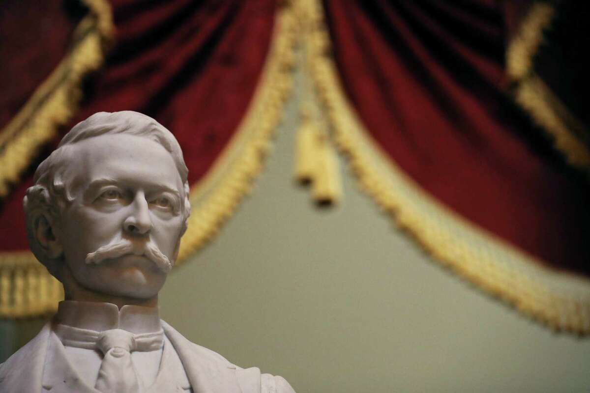 """WASHINGTON, DC - JUNE 18: A statue of Uriah M. Rose, an Arkansas judge and supporter of the Confederacy, is2 on display in Statuary Hall inside the U.S. Capitol June 18, 2020 in Washington, DC. Speaker of the House Nancy Pelosi (D-CA) has requested that Congress remove this statue and 10 others of Confederate soldiers and officials from the U.S. Capitol. """"The statues in the Capitol should embody our highest ideals as Americans, expressing who we are and who we aspire to be as a nation. Monuments to men who advocated cruelty and barbarism to achieve such a plainly racist end are a grotesque affront to these ideals. Their statues pay homage to hate, not heritage. They must be removed,"""" Pelosi wrote in the letter addressed to Joint Committee on the Library Chair Roy Blunt (R-MO) and Vice Chair Zoe Lofgren (D-CA). (Photo by Chip Somodevilla/Getty Images)"""