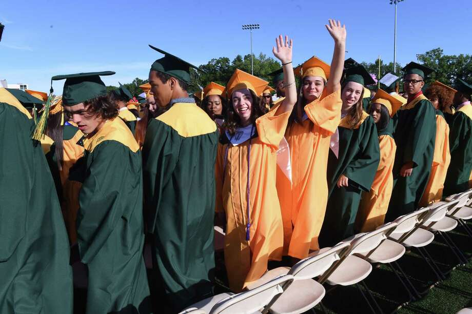 Scenes from the Hamden High School commencement on June 12, 2019. Photo: Arnold Gold / Hearst Connecticut Media / New Haven Register
