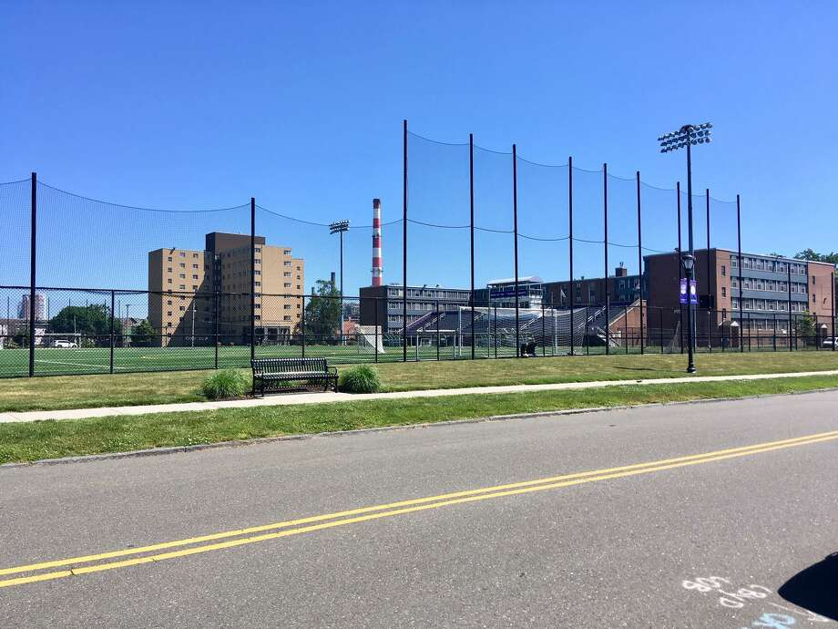A view of UB's Bodine Hall, North and South Hall and soccer field. June 2020 Photo: Linda Conner Lambeck