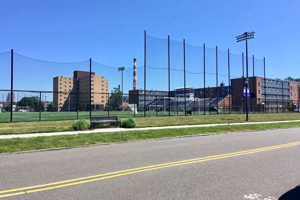 A view of UB's Bodine Hall, North and South Hall and soccer field. June 2020