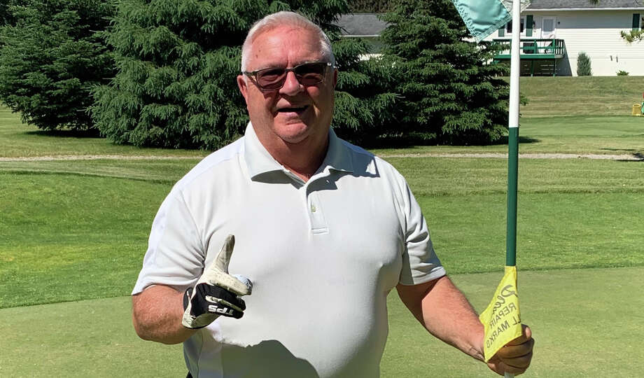 Kent Tibbits, of Pigeon, recorded an ace on the No. 7 hole at Century Oaks Golf Course on Thursday. Photo: Lance Tibbits/Submitted Photo