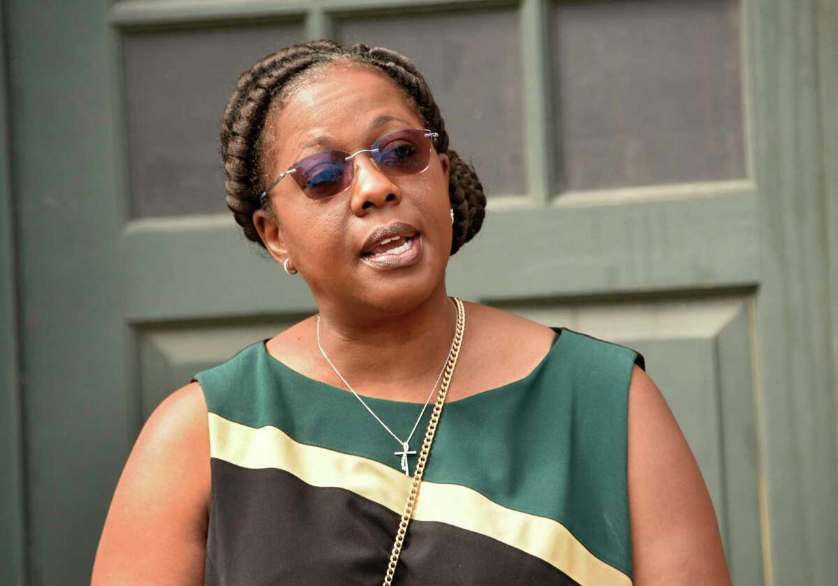 Kaweeda Adams, superintendent of the Albany City School District, speaks during a press conference to announce that it will form a School Naming Policy Committee at Philip J. Schuyler Achievement Academy on Friday, June 19, 2020 in Albany, N.Y. (Lori Van Buren/Times Union)