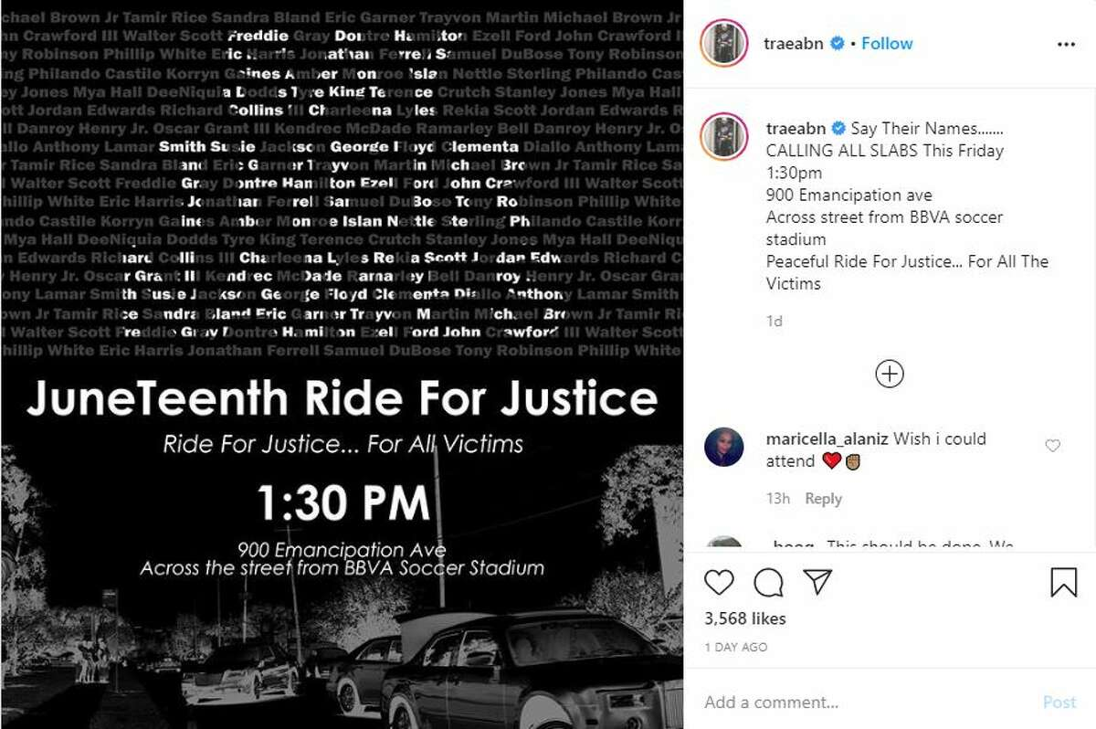 """The streets of Houston will fill with slabs, swangas and other vehicles on Friday afternoon as Trae tha Truth holds a Juneteenth """"Ride for Justice."""""""