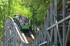 The Boulder Dash wooden roller coaster at Lake Compounce.