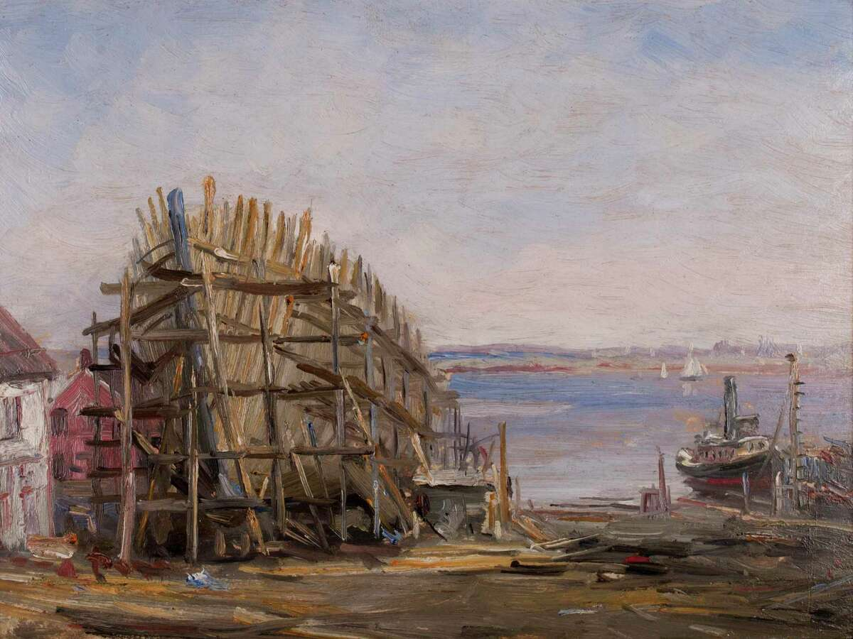 """Reynolds Beal's """"Noank Shipyard,"""" ca. 1900. Oil on academy board. Gift of The Hartford Steam Boiler Inspection and Insurance Company."""
