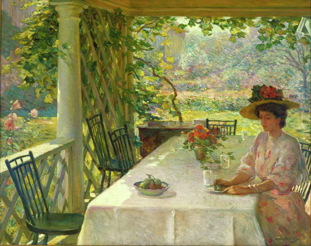 """William Chadwick's """"On the Piazza,"""" ca. 1908. Oil on canvas. Gift of Elizabeth Chadwick O'Connell."""