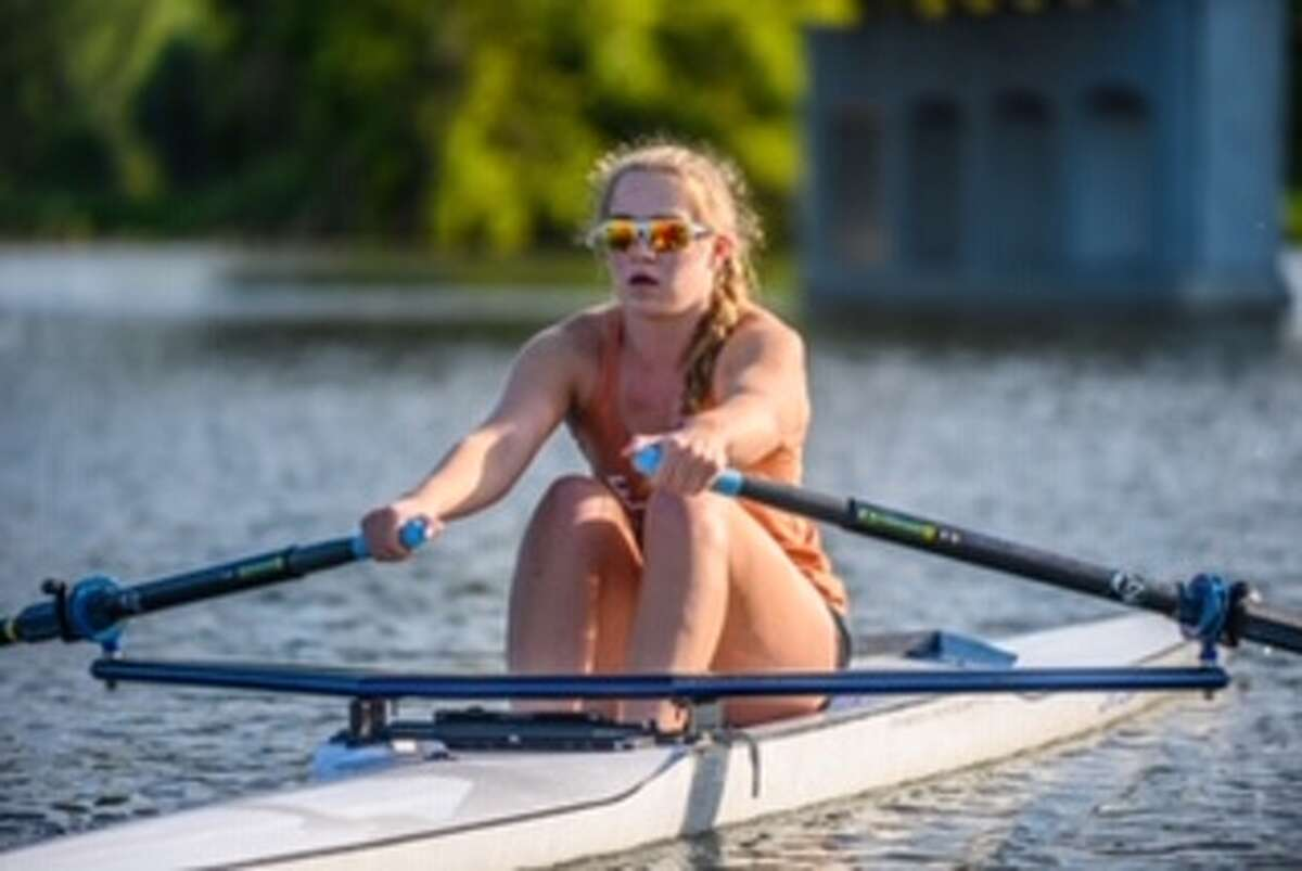 Anna Jensen practices on the Saginaw River in 2019.